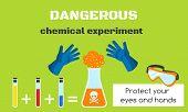 Dangerous Chemical Experiment Concept Banner. Flat Illustration Of Dangerous Chemical Experiment Vec poster