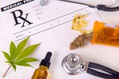 Assorted cannabis products, pills and cbd oil over medical prescription sheet - medical marijuana co poster