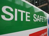 Site Safety Sign In A Building Site (construction Site) poster