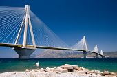 suspension bridge crossing Corinth Gulf strait, Greece.  The lead architect was Berdj Mikaelian. Is