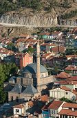 aerial view of Mosque Mevlana and houses in old village of Afyon in central Anatolia, Turkey poster