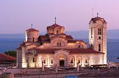 night view of Saint Panteleimon monastery situated on Plaosnik in Old Ohrid, Republic of Macedonia