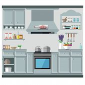 A Cozy Kitchen In The Style Of Provence With A Lot Of Cabinets, Dishes And Kitchen Utensils. Vector  poster