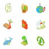 Ecological Compatibility Renewal Icons Set. Isometric Set Of 9 Ecological Compatibility Renewal Vect poster
