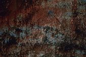 Rusty Painted Metal Texture, Old Iron Surface With Shabby Cracked Paint And Scratches poster