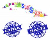 Best Shopping Combination Of Mosaic Map Of Cuba Island And Scratched Seals. Vector Blue Seals With S poster