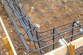 New Steel Rebar Framing Abstract At Construction Site poster