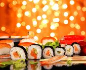 picture of sushi  - Delicious sushi with shiny blur background - JPG