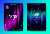 Wave Amplitude Of Sound. Electronic Music Poster With Distorted Rounds And Wave Dotted Lines. Futuri poster