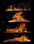 Fire flames collection, isolated on black background