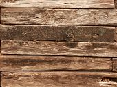 picture of railroad yard  - Railroad ties wall - JPG