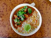 Vegetarian Rice Bowl With Vegetarian Gravy Or Curry poster