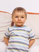 Surprised Or Naughty Little Preschooler, Concept Of Kids Emotion poster