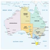 Simple Vector Outline Administrative And Political Vector Map Of Australia. poster