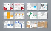 Set Of Vector Trifold Brochures With Different Geometric Elements And Space For Photo. poster