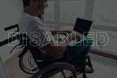Disabled Man In A Wheelchair. Man Sitting In Front Of Window. Large Panoramic Window. Man Using A La poster