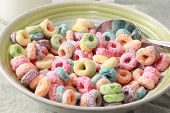 stock photo of cereal bowl  - Colorful cereal - JPG