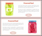 Preserved Food Banners, Olive And Raspberry. Jar Of Vegetables Or Berries In Marinade Web Pages Temp poster