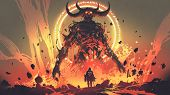Knight With A Sword Facing The Lava Demon In Hell, Digital Art Style, Illustration Painting poster