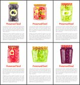 Preserved Food Olives And Pickles Set. Conserved Tomatoes And Strawberries Jam In Glass Pot. Plums A poster