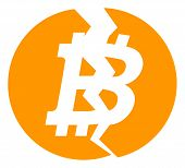 Broken Bitcoin Icon On A White Background. Isolated Broken Bitcoin Symbol With Flat Style. poster