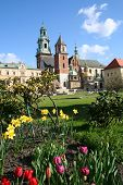 Wawel Castle In Blooming Flowers. Krakow. Poland. poster