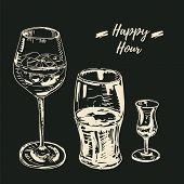 Happy Hour Drinks Set. Vector Illustration, Chalk On Blackboard Style. Wine Glass With A Cocktail, B poster