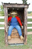 stock photo of outhouses  - Scarecrow in an outhouse - JPG