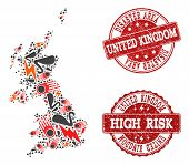 Disaster Collage Of Mosaic Map Of United Kingdom And Scratched Seals. Vector Red Imprints With Scrat poster