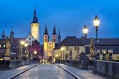 Old Town Of Wurzburg, Germany At Dusk. View From Old Main Bridge poster
