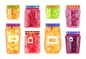Preserved Fruit In Glass Jars Set Vector Illustration. Raspberry And Strawberry, Peach And Orange, P poster