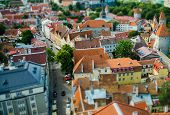 Old Toy Small Town Of Tallinn With Traditional Red Tile Roofs, Estonia poster