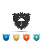 Waterproof Icon Isolated On White Background. Shield And Umbrella. Water Protection Sign. Water Resi poster