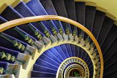 Downward spiraling staircase.