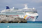 GREAT STIRRUP CAY, BAHAMAS - JANUARY 1: Norwegian Pearl, part of the Norwegian Cruise line, off the