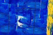 The Blue Surface Of The Canvas For The Artist. Oil Painting With Abstract Pattern. The Texture Of Th poster