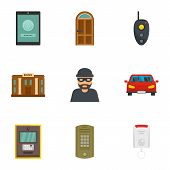 Finance Security Icon Set. Flat Set Of 9 Finance Security Icons For Web Design poster
