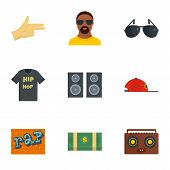 Street Rap Icon Set. Flat Set Of 9 Street Rap Icons For Web Design poster