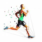 Running Man, Low Polygonal Geometric Vector Illustration. Run, Sprinting Athlete poster