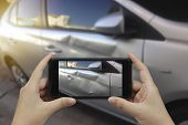 Hand Holding Smart Phone Take A Photo At The Scene Of A Car Crash And Accident, Car Accident For Ins poster
