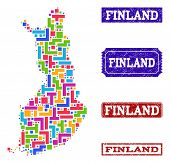 Mosaic Brick Style Map Of Finland And Scratched Rectangle Seal Stamps. Vector Map Of Finland Constru poster