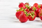 Red Ripe Strawberries On White Background. Fresh Juicy Berries. Benefits Of Strawberries For Skin. poster