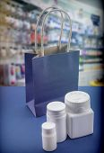 Some Medicines At A Pharmacy, Concept Of Consumption poster