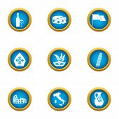 European Peace Icons Set. Flat Set Of 9 European Peace Icons For Web Isolated On White Background poster