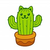Cartoon Cat Cactus Drawing. Cute Prickly Kitty In Flower Pot, Vector Illustration. poster
