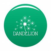 Fluffy Dandelion Logo Icon. Simple Illustration Of Fluffy Dandelion Vector Icon For Any Design Green poster