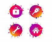 Home Key Icon. Wrench Service Tool Symbol. Locker Sign. Main Page Web Navigation. Gradient Circle Bu poster