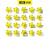 Marketing Line Icons. Set Of Strategy, Feedback And Advertisement Campaign Signs. Research, Communic poster