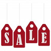 Sale Banner Template Design. Sale Poster, Black Friday Sale. Red Stickers With The Inscription Sale. poster