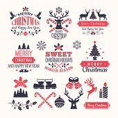 Christmas Holiday Labels. Vintage Winter Badges And Logos With Various Snow New Year Vector Elements poster